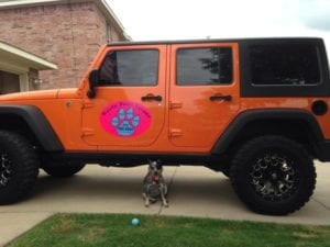 Car magnet for Haute Paws Escape on a Jeep