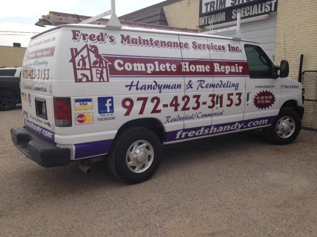 White work van with vinyl car wrap decals for home repair company