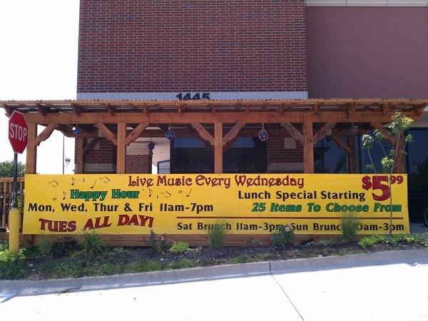 Restaurant banner advertising happy hour