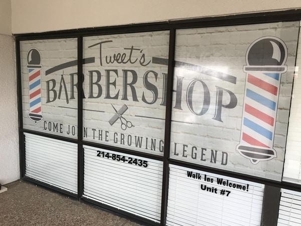 Vintage looking vinyl window decals for barbershop