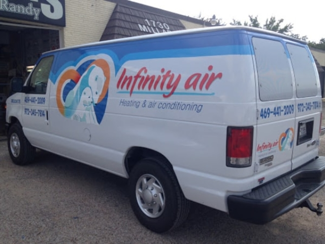 Infinity Air work truck with vinyl car wrap decals