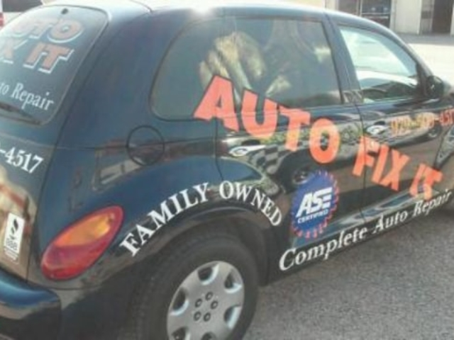 Auto Fix it vehicle with colorful vinyl car wrap decals