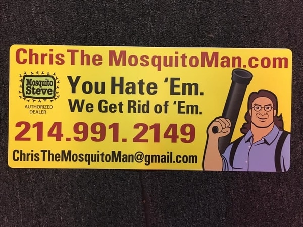 Yellow car magnet for a mosquito extermination company