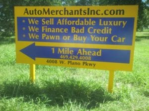 Billboard for Auto Merchants