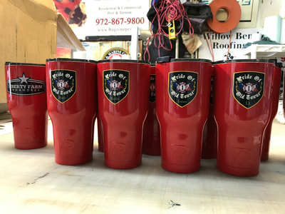 Yeti cups with business decals